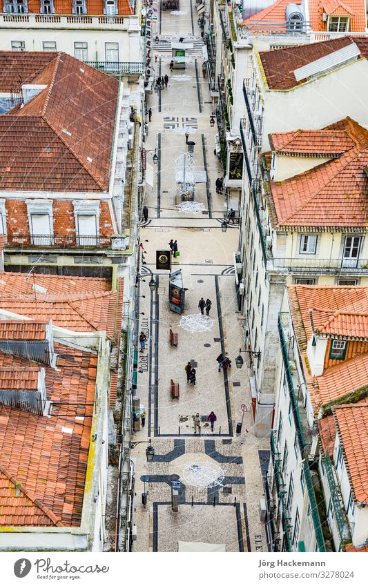 view from the Elevador de Santa Justa to the old part of Lisbon Portugal Europe Historic Alfama aerial City cobble stone old town Colour photo Exterior shot
