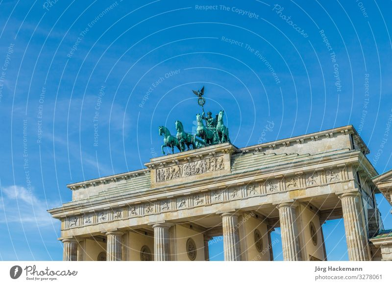 Brandenburg gate with quadriga in Berlin Vacation & Travel Tourism Sightseeing Success Culture Sky Building Architecture Monument Old Historic Gate Tor