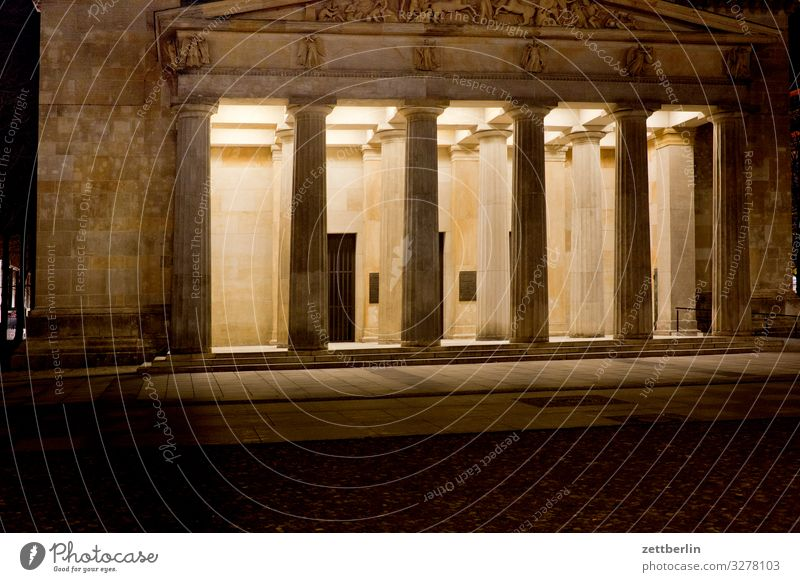 New guard at night Evening Architecture Building Classicism Column Portal Entrance angles Berlin Dark Capital city Night New Guard House Tourism