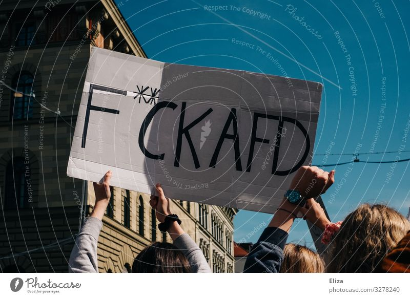 A crowd at a demonstration, holding a poster on the F**ck AFD out of their hands; Munich Demonstration Human being Group Poster demonstrate AfD Protest