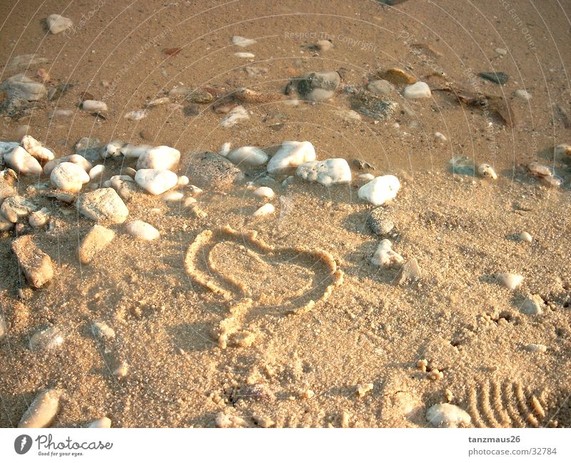 Water Ocean Beach Love Stone Sand Heart Photographic technology