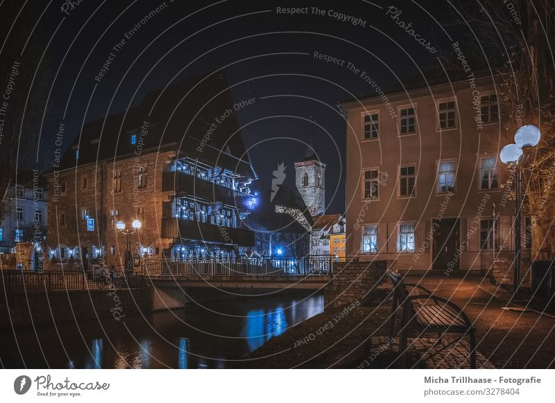 Old town Erfurt at night Vacation & Travel Tourism Trip Sightseeing City trip Germany Europe Town Downtown Deserted House (Residential Structure) Church Bridge
