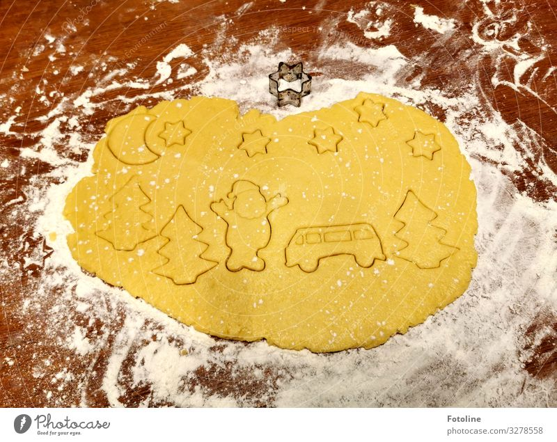 Oh-ho-ho! Merry Christmas! Food Dough Baked goods Candy Nutrition Delicious Brown Yellow White cut out cookies cookie dough Santa Claus Bus Star (Symbol)