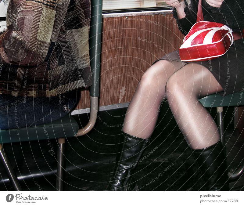 train Nylon Bag Woman Sit Railroad Legs