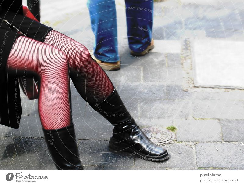 Woman Street Sit Sidewalk Stockings Fishnet stockings