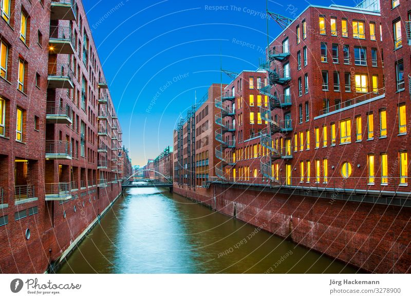 Speicherstadt at night in Hamburg Beautiful House (Residential Structure) Office Landscape Sky Town Bridge Building Architecture Old Historic Blue Advertising