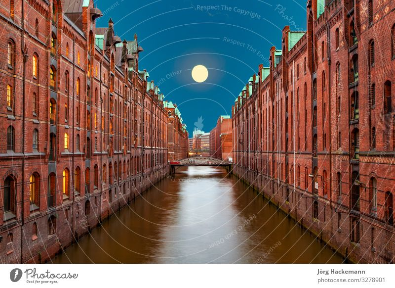 Speicherstadt at night in Hamburg Beautiful House (Residential Structure) Office Landscape Sky Moon Town Bridge Building Architecture Old Historic Canal