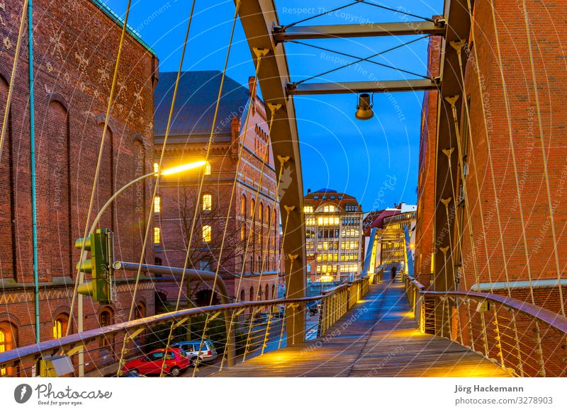 Speicherstadt at night in Hamburg Beautiful House (Residential Structure) Landscape Sky Moon Town Bridge Building Architecture Old Historic Blue Canal