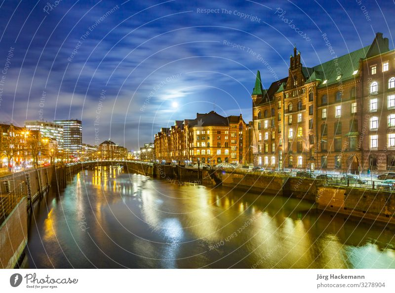 Speicherstadt at night in Hamburg Beautiful House (Residential Structure) Landscape Sky Moon Town Bridge Building Architecture Old Authentic Historic Blue Canal