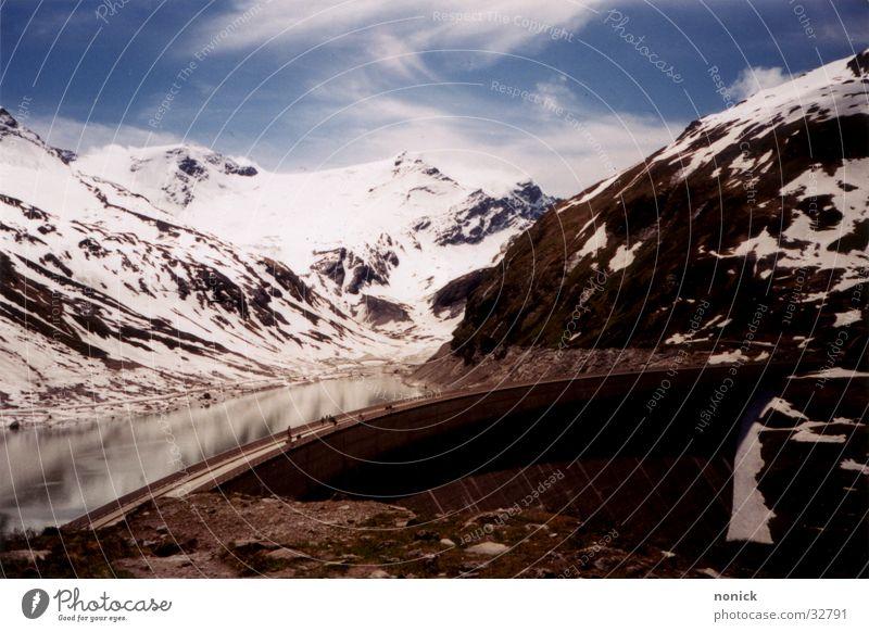 Kaprun Clouds Reflection Retaining wall Mountain Water Snow