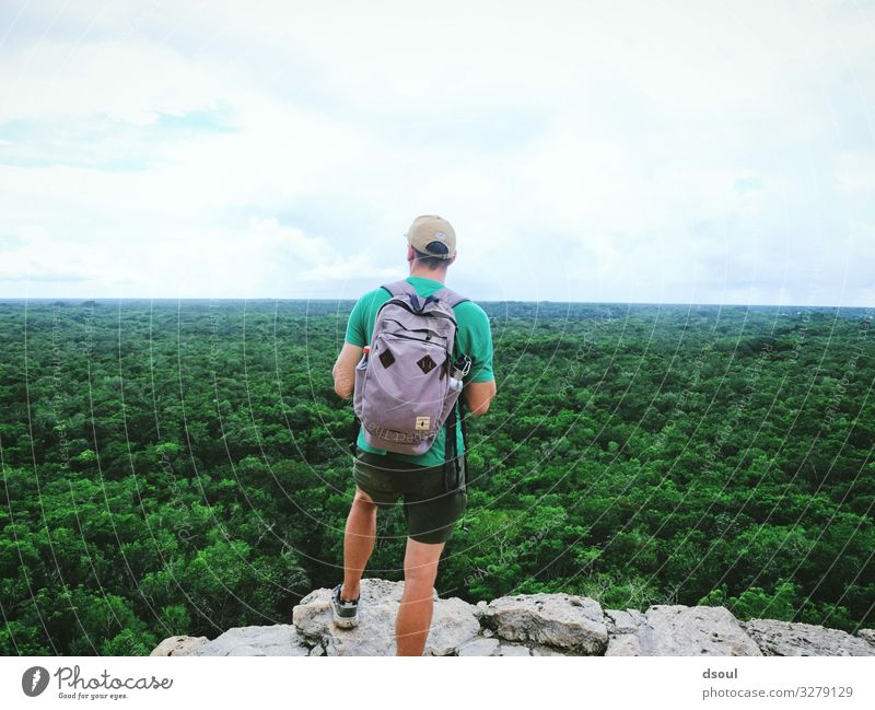Jungle View Tourism Adventure Far-off places Human being Masculine 1 Nature Observe Vacation & Travel Wanderlust Mexico Yucatan Maya Virgin forest Colour photo