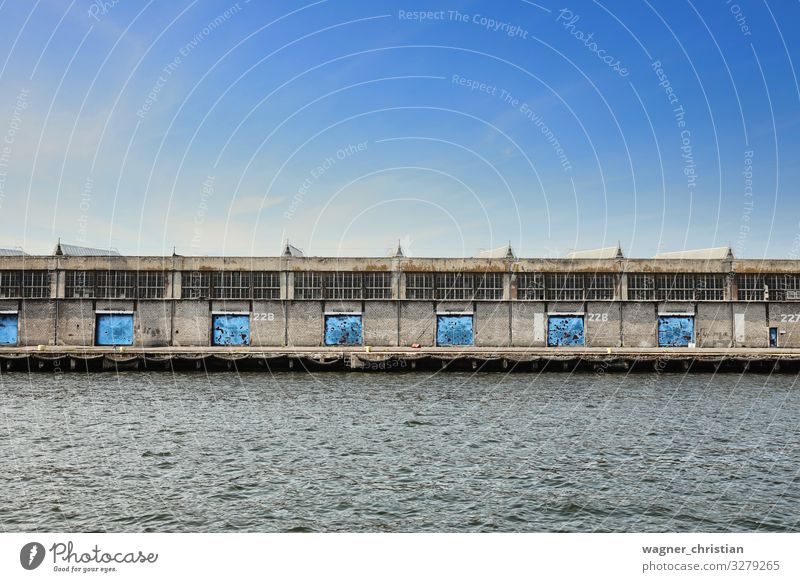 warehouse Industry Trade Logistics Business Industrial plant Building Architecture Simple Gloomy Blue Dock Port Industrial Photography Jetty Gdánsk