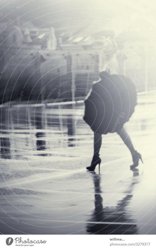 Woman in high heels with umbrella on wet asphalt Young woman Adults Bad weather Rain Underwear Bra Umbrella High heels Going Walking Eroticism Happiness