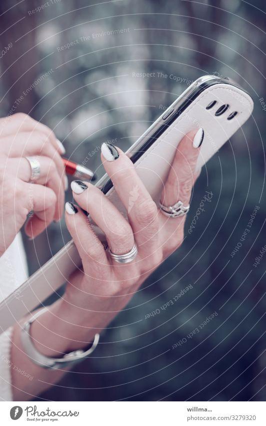 Woman Hand Adults Style Communicate Elegant Technology Telecommunications Fingers Write Internet Search Information Technology Jewellery PDA Pen