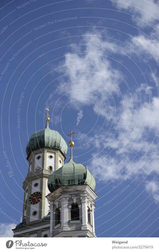 Augsburg Easter Church Blue Religion and faith Catholicism Church spire Sky Crucifix Prayer Colour photo Exterior shot Copy Space top