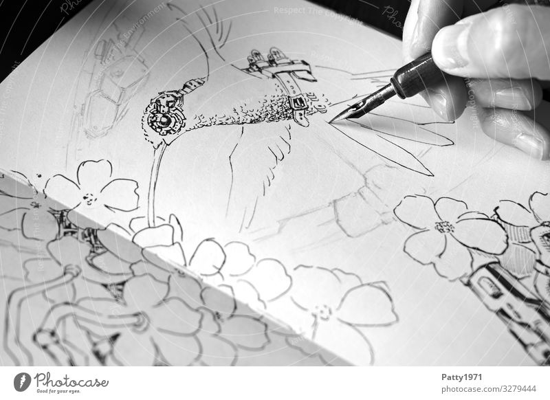 Human being Hand Animal Environment Art Bird Flying Technology Creativity Fantastic Change Metal coil Draw Exotic Surrealism Drawing