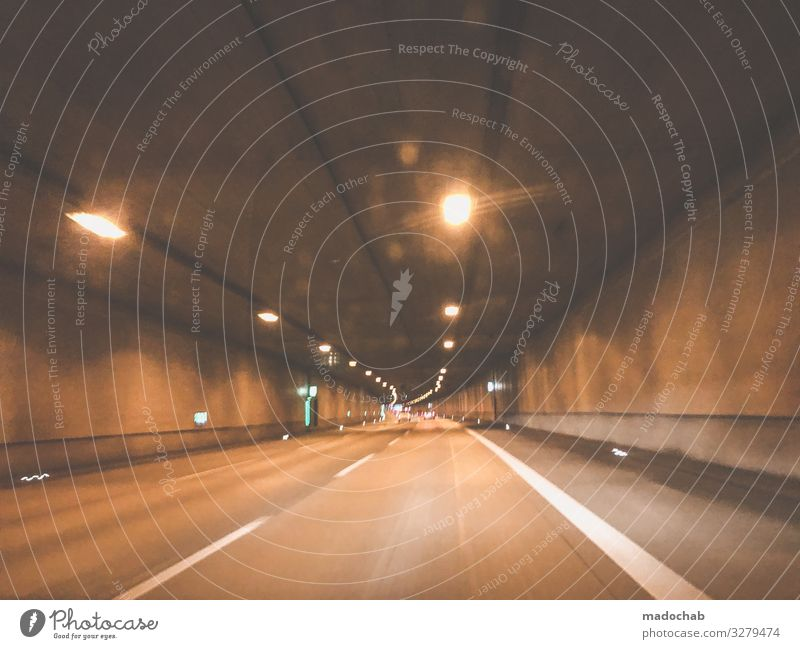 tunnel vision Tunnel car Car journey Transport Mobility Street Traffic infrastructure Road traffic Means of transport Driving Movement Deserted Speed