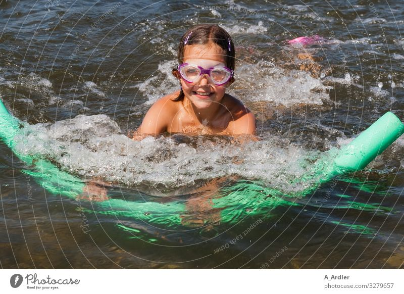 young girl swims | farsighted Leisure and hobbies Vacation & Travel Summer vacation Ocean Waves Sports Swimming & Bathing Feminine Child Girl 1 Human being