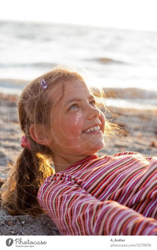 young girl at the beach | farsighted Well-being Contentment Leisure and hobbies Vacation & Travel Summer Summer vacation Beach Ocean Human being Feminine Girl