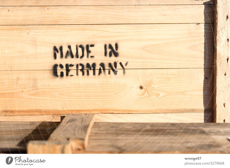 Made in Germany Advancement Future Industry Packaging Box Wood Characters Signs and labeling Sharp-edged Large Brown Black Crate Delivery Mail order selling