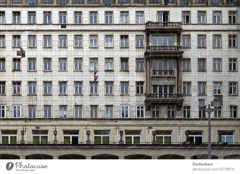 Town Loneliness Window Dark Architecture Wall (building) Berlin Wall (barrier) Facade Gray Living or residing Retro High-rise Arrangement Transience Planning