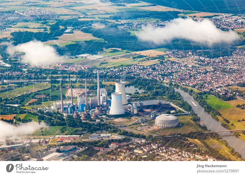 aerial of powerstation in Grosskrotzenburg, Main river Technology Landscape River Village Chimney Transport Aircraft Flying Energy Station coal fired