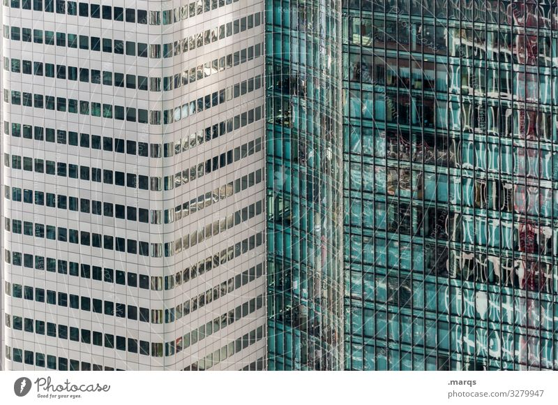 Frankfurt High-rise Perspective Facade Reflection Glas facade Modern Bank building Architecture Business built turquoise Black Gray Town futuristic