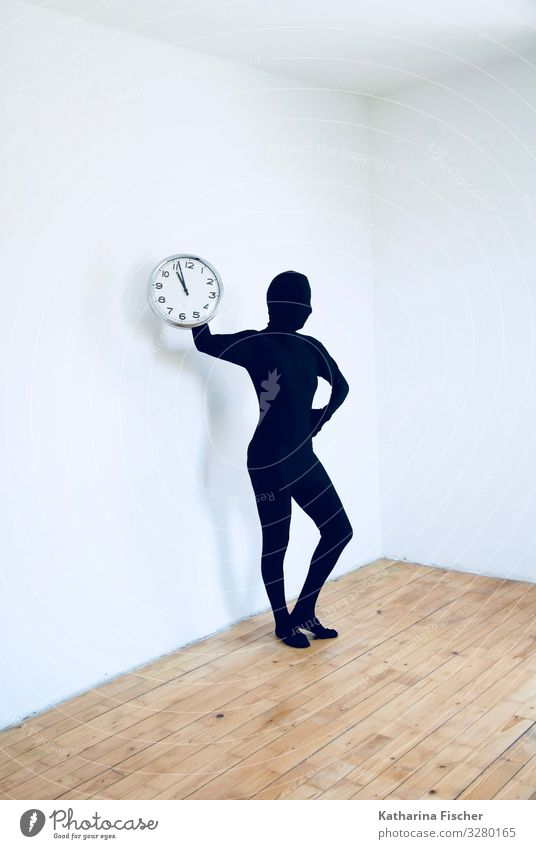 Human being White Black Time Art Brown Clock Room Stand Posture Silver Wooden floor Laminate Body language Pantomimist
