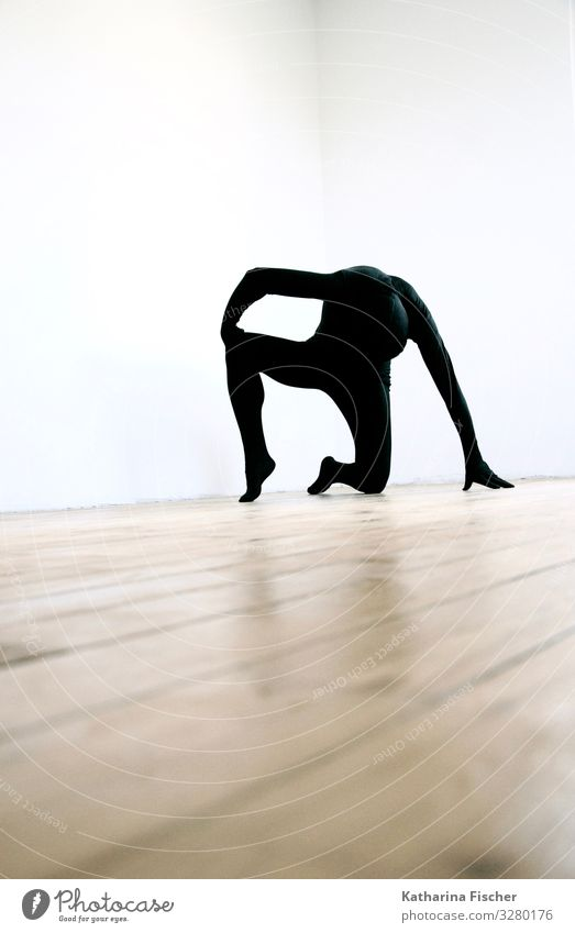 Human being White Black Art Brown Room Power Floor covering Posture Wooden floor Support Kneel Body language Pantomimist