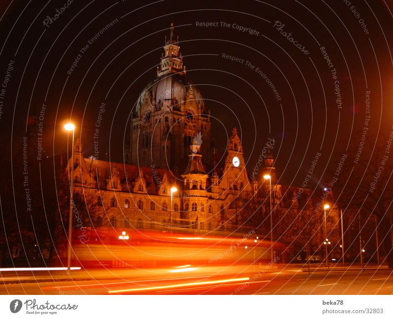Hanover City Hall City hall Hannover Night Light Stripe Architecture Street