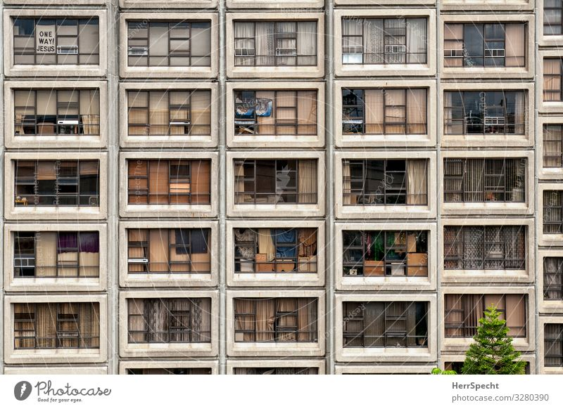 Town Window Architecture Building Exceptional Facade Living or residing Flat (apartment) Modern Characters High-rise Gloomy Uniqueness Concrete