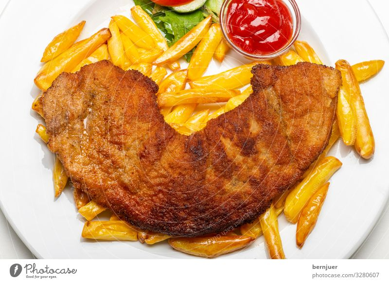 Viennese schnitzel Meat Banquet Fresh Delicious Escalope veal escalope pork schnitzel Chicken escalope Barn fowl Pork Ketchup French fries frites