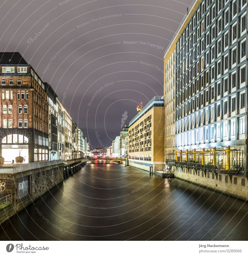 alsterfleet hamburg germany at night Vacation & Travel Summer Lake River Town Bridge Building Architecture Moody Hamburg binnenalster Channel City Destination