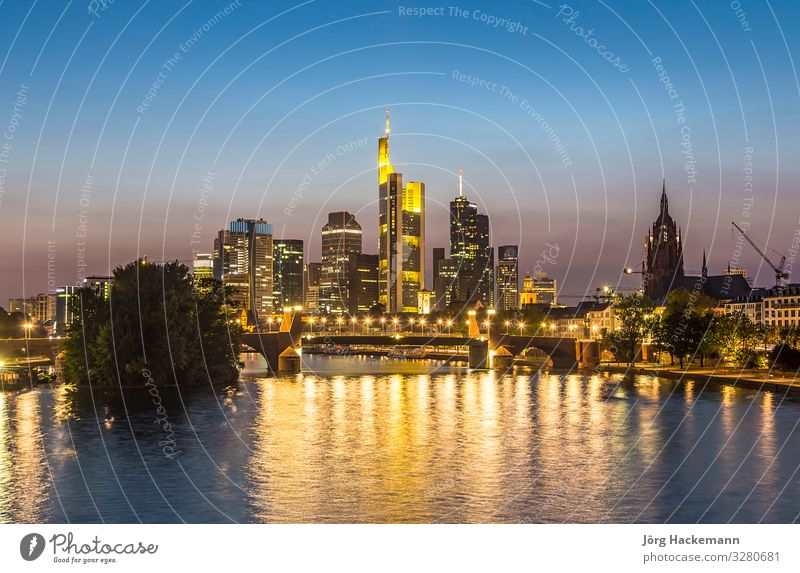 Skyline of Frankfurt, Germany by night Business Landscape River Town Downtown High-rise Bridge Architecture Tourist Attraction Landmark Modern Business District