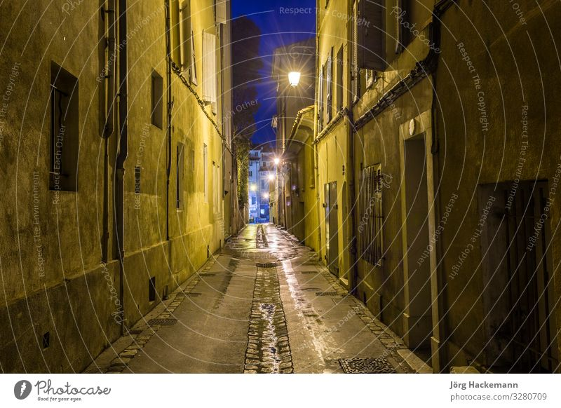small alley by night in Aix Village Architecture Facade Street Old Aix-en-Provence France Grunge Lantern light narrow narrow street vintage Deserted Morning