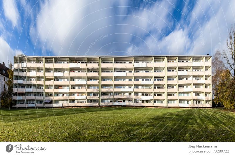 facade with balconys of a social housing complex in Munich Flat (apartment) Building Architecture Facade Balcony Long Bavaria council flat Germany living