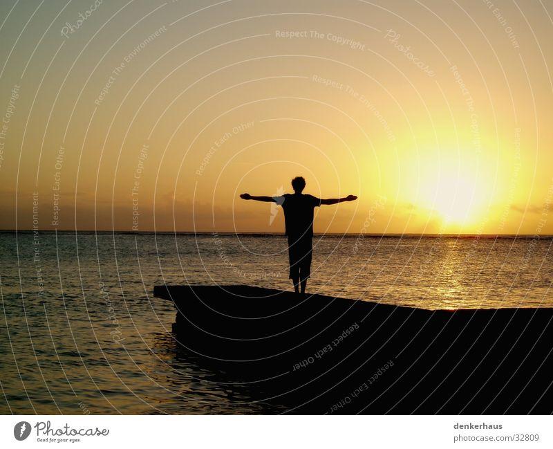 Human being Water Sun Black Yellow Orange Island Footbridge
