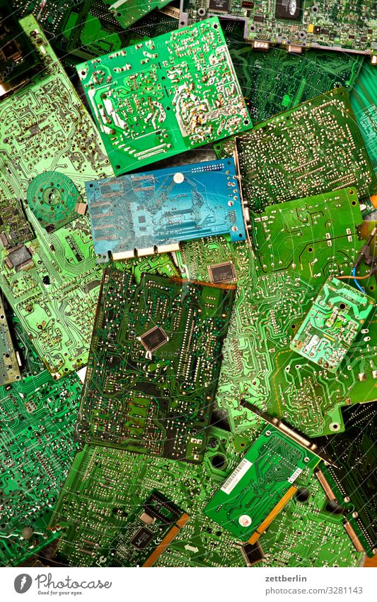 E-scrap Part Computer Electric Electronic Electronics Circuit board Soldering Motherboard Entertainment electronics Resist Deserted Copy Space Crowd of people