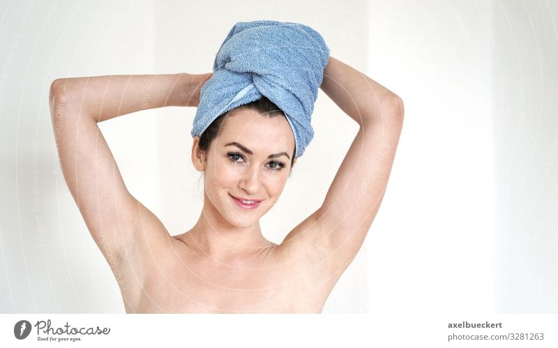young woman with towel Turban Lifestyle Beautiful Personal hygiene Body Hair and hairstyles Wellness Spa Human being Feminine Young woman Youth (Young adults)