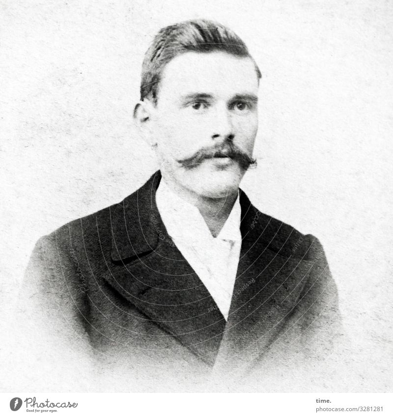 young man, expectant Masculine Man Adults 1 Human being Shirt Suit Jacket Short-haired Facial hair Moustache Observe Looking Wait Watchfulness Curiosity
