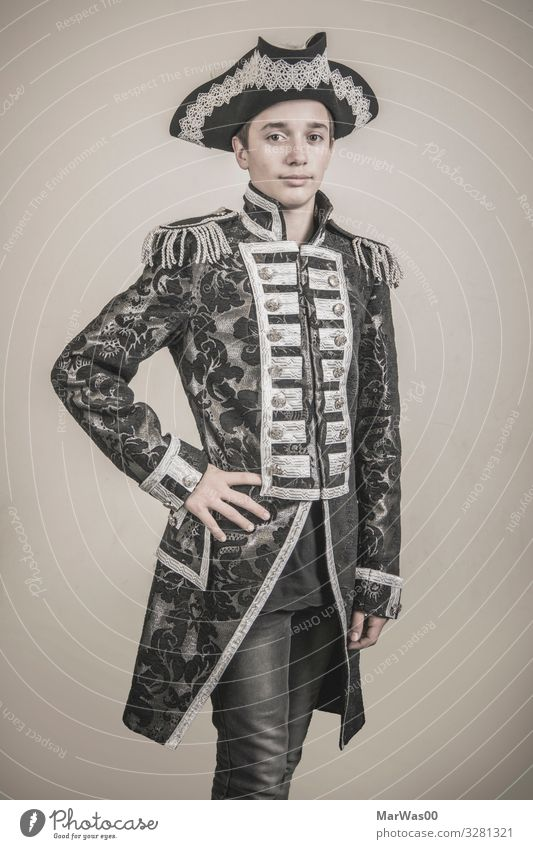 Teenager portrait in Admirals costume Elegant Style Game of cards Poker Game of chance Masculine Boy (child) Young man Youth (Young adults) 1 Human being