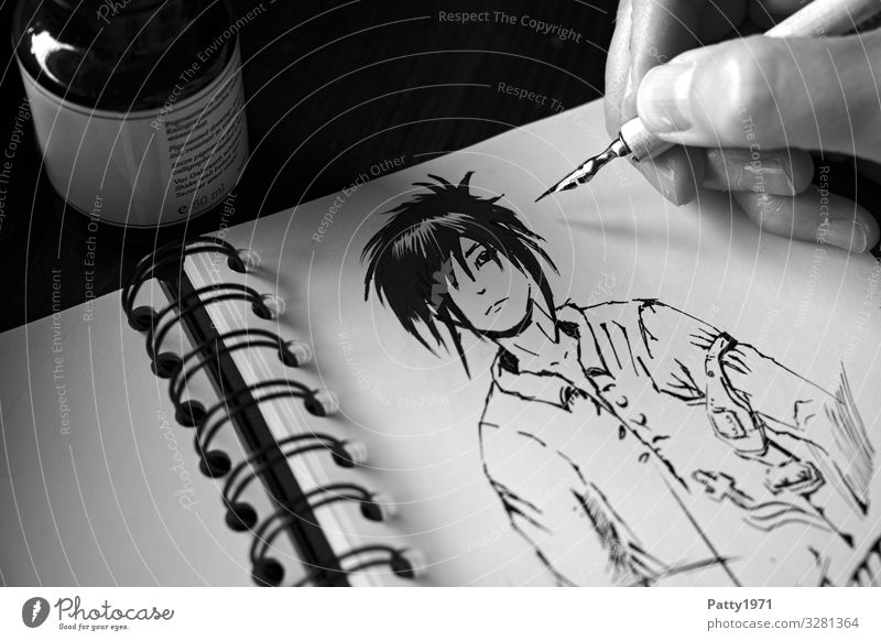 Detail of a hand drawing a manga figure in a sketchbook with a drawing pen Hand 1 Human being Art Artist Painter Manga Drawing Comic strip character Ink