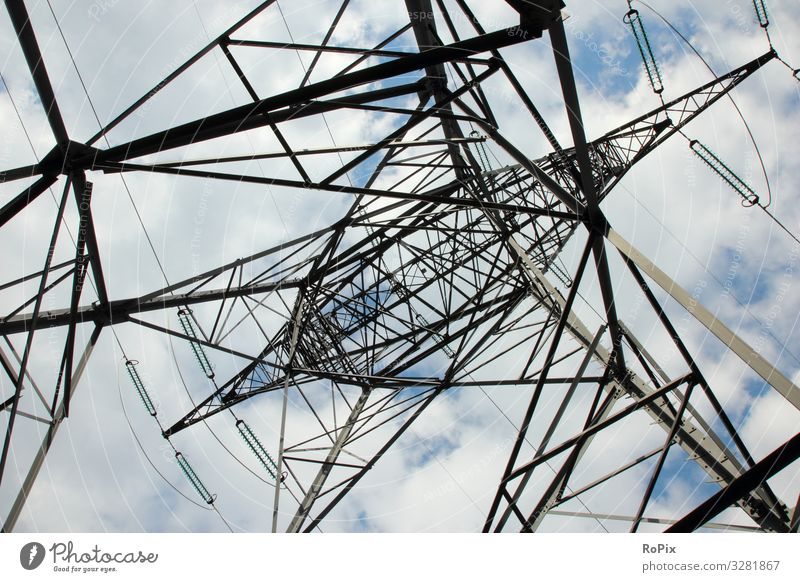 Power grid pole seen from below. Lifestyle Design Education Science & Research Work and employment Profession Workplace Construction site Factory Economy