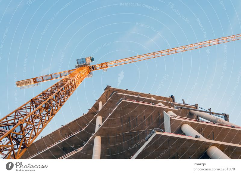 Shell with crane Crane Construction crane Construction site unfinished Manmade structures Building Change Advancement Cloudless sky New building High-rise
