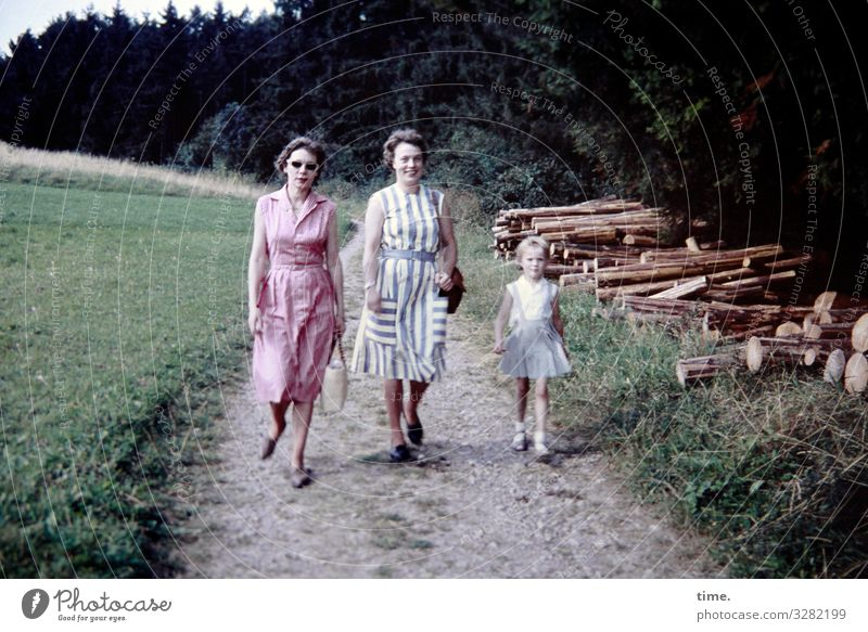 Local history (2) Feminine girl Woman Adults 3 Human being Environment Nature Landscape Beautiful weather Stack of wood To go for a walk Meadow Forest Dress