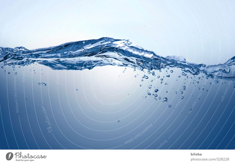 cooling down Water Drops of water Waves Esthetic Cold Blue Source Healthy Clean Drinking water Colour photo Interior shot Experimental Copy Space bottom