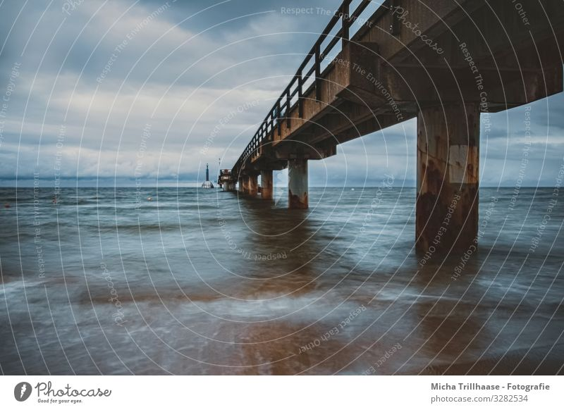 Zinnowitz pier in wind and waves Vacation & Travel Tourism Nature Landscape Water Sky Clouds Weather Wind Baltic Sea Germany Bridge Architecture Sea bridge