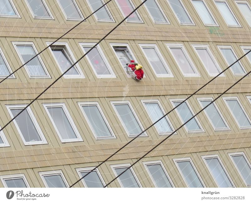 Human being Christmas & Advent Red House (Residential Structure) Window Facade High-rise Tall Curiosity Climbing Santa Claus Beige Cardboard dummy
