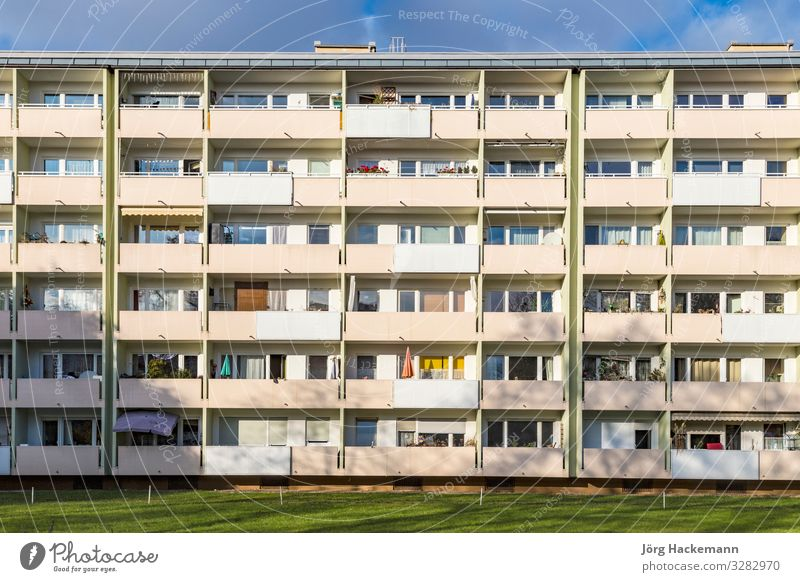 facade with balconys of a social housing complex in Munich Flat (apartment) Building Architecture Facade Balcony Loneliness Bavaria council flat Germany living
