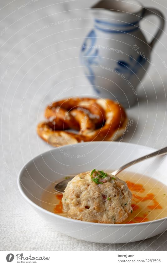 White Wood Brown Round Bowl Meat Meal Storage Lunch Ingredients Spicy Soup Federal State of Tyrol Pretzel Stock Chives